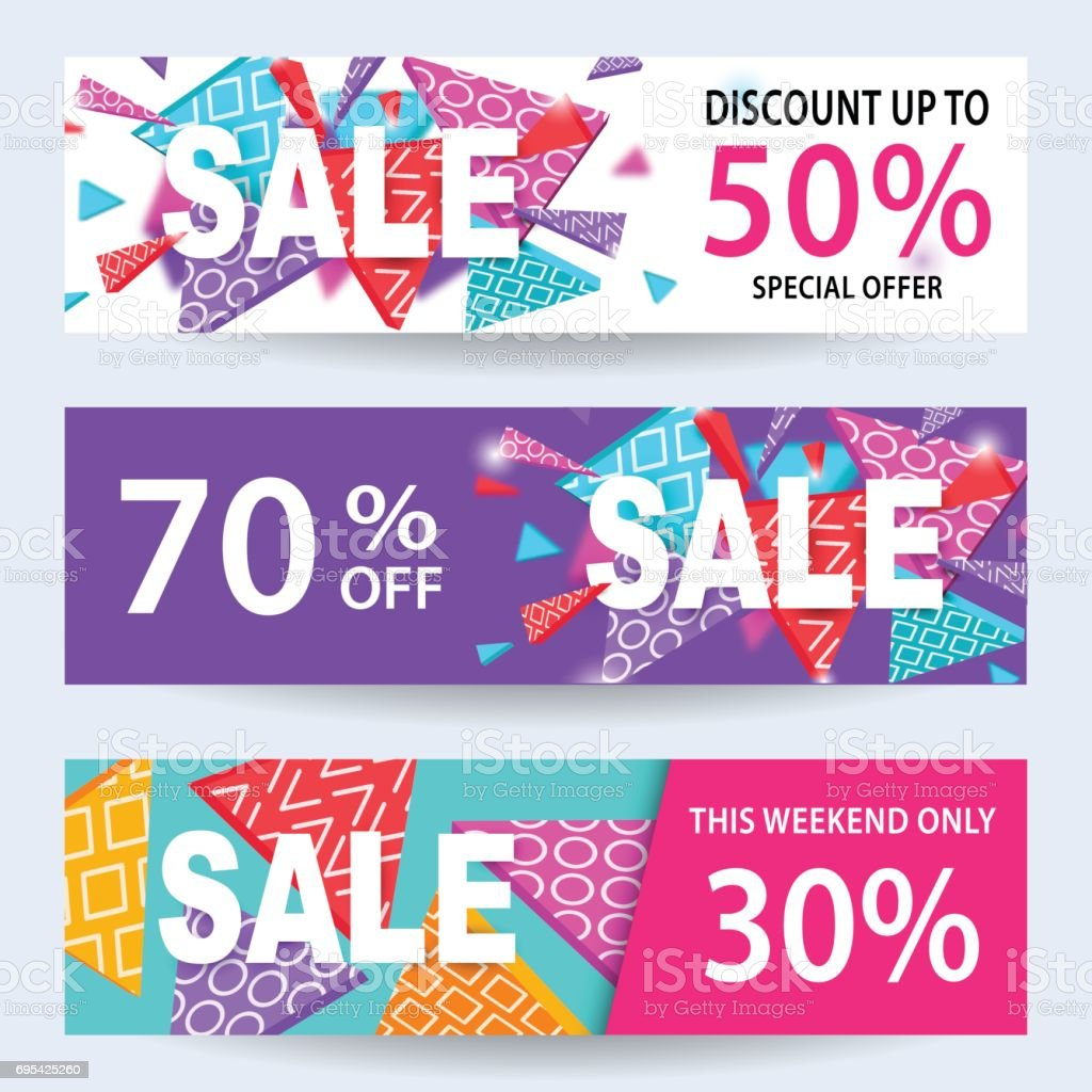 Sale Banners Discount Coupons Template Set For Online Shopping ...