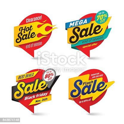 Sale banners template, hot, fire, lightning bubbles Vector illustration set