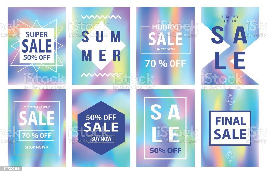 Sale banners template set. Holographic neon background - illustrazione arte vettoriale