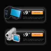 Vector illustration of advertising glossy black banners with button price and 3d illustration of desktop and video camera. Image contains transparency, 10 EPS.