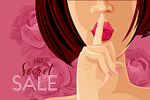 Sale. Beautiful Woman on Roses Background. Vector Illustration.