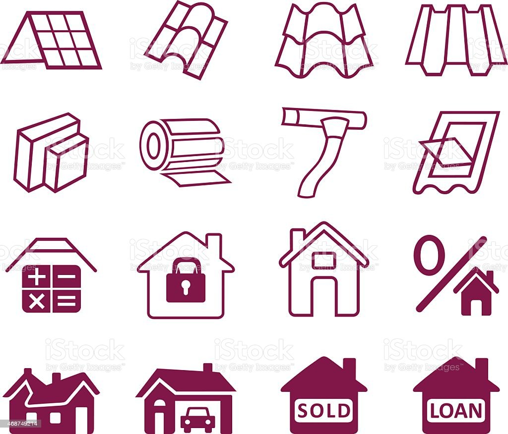 Sale buildings materials (roof, facade) site icons set vector art illustration