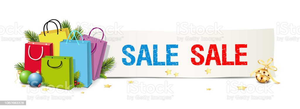 Sale Christmas Sign Banner Shopping Bags Fir Branches Christmas