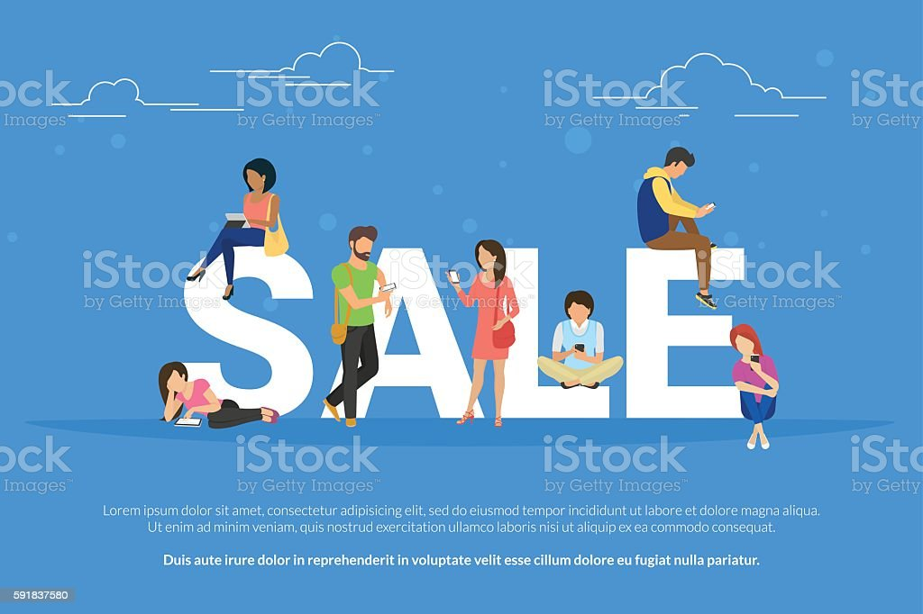 Sale concept illustration of young people using mobile devices such vector art illustration