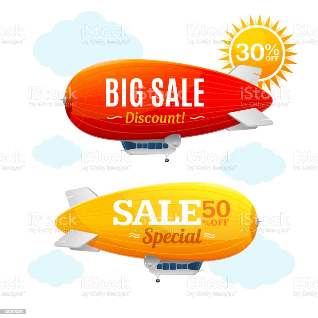 Sale Concept Labels with Airship. Vector vector art illustration