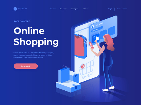 Sale, consumerism and people concept. Young woman shop online using smartphone. Landing page. 3d vector isometric illustration.