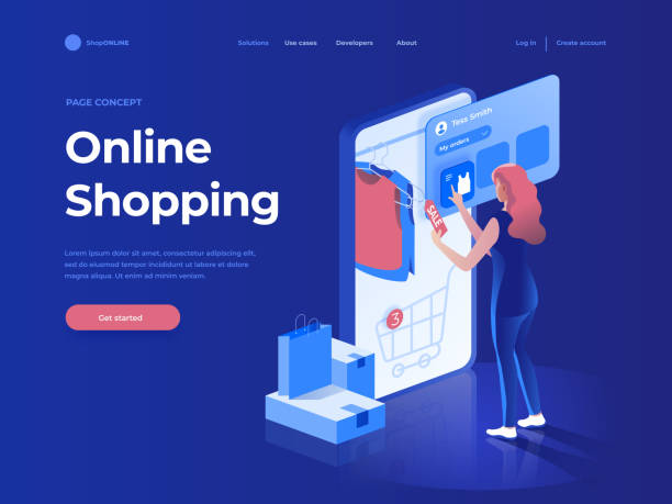 sale, consumerism and people concept. young woman shop online using smartphone. landing page. 3d vector isometric illustration. - handel elektroniczny stock illustrations
