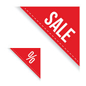 Sale corner ribbon set vector