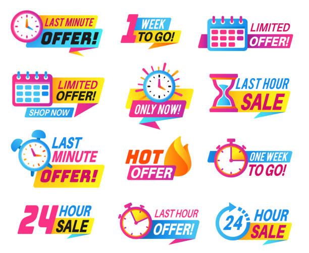 Sale countdown badges. Big deal, limited sale announcement. Promo stickers last day, hour and minute timer. Best offer labels vector set Sale countdown badges. Big deal, limited sale announcement. Promo stickers last day, hour and minute timer. Best offer labels vector price special low set exodus stock illustrations