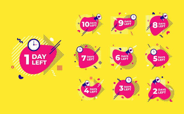 Sale countdown liquid abstract elements ten to one days left signs set vector illustration isolated symbol badge. Business date count with offer timer, limit offer concept. Sale countdown liquid abstract elements ten to one days left signs set vector illustration isolated symbol badge. Business date count with offer timer, limit offer concept. exodus stock illustrations