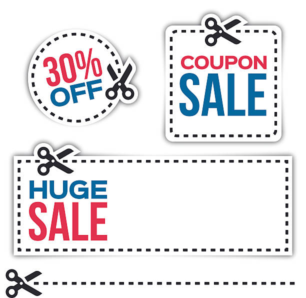 sale coupons - coupon stock illustrations, clip art, cartoons, & icons