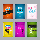 Collection of sale poster or website banner design templates. Vector illustration set for posters, social media banners, email and flyer designs, ads, promotional material. Elements are layered separately in vector file.