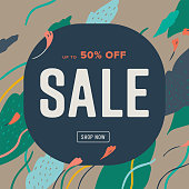 Sale design template with hand-drawn vector wind-blown leaf and flower bud graphics