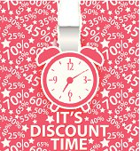 Vector Illustration of Sale design with alarm clock and percent background