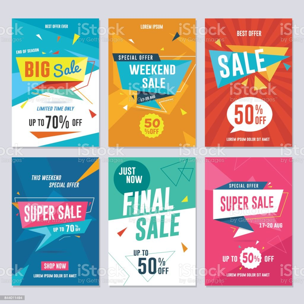 Sale, Discount and Promotion Flyer / Banner Set vector art illustration