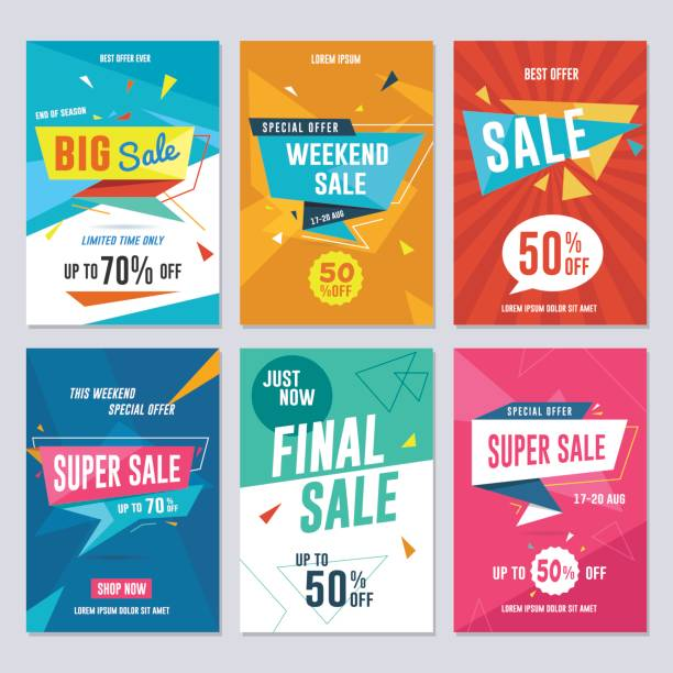 Sale, Discount and Promotion Flyer / Banner Set Vector illustration for social media banners, poster, flyer and newsletter designs. publicity event stock illustrations