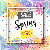 Sale Discount Banner Social Media Stories Frame Gift Card Template with Falling Bright Confetti, Blooming Flowers, Tropical Palm Leaves Frame and Copy Space for text. Abstract Modern Spring - Summer Holiday Carnival, Chinese New Year, Birthday Party decoration. Voucher, Online Shopping Card, Auto Post Production Filter, Vector