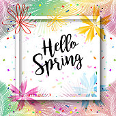 Sale Discount Banner Social Media Stories Frame Hello Spring Gift Card Template with Falling Bright Confetti, Blooming Flowers, Tropical Palm Leaves Frame and Copy Space for text. Abstract Modern Spring - Summer Holiday Carnival, Chinese New Year, Birthday Party decoration. Voucher, Online Shopping Card, Auto Post Production Filter, Vector