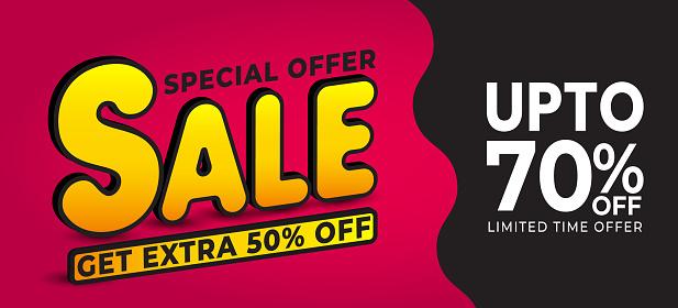 Sale discount banner template promotion vector illustration