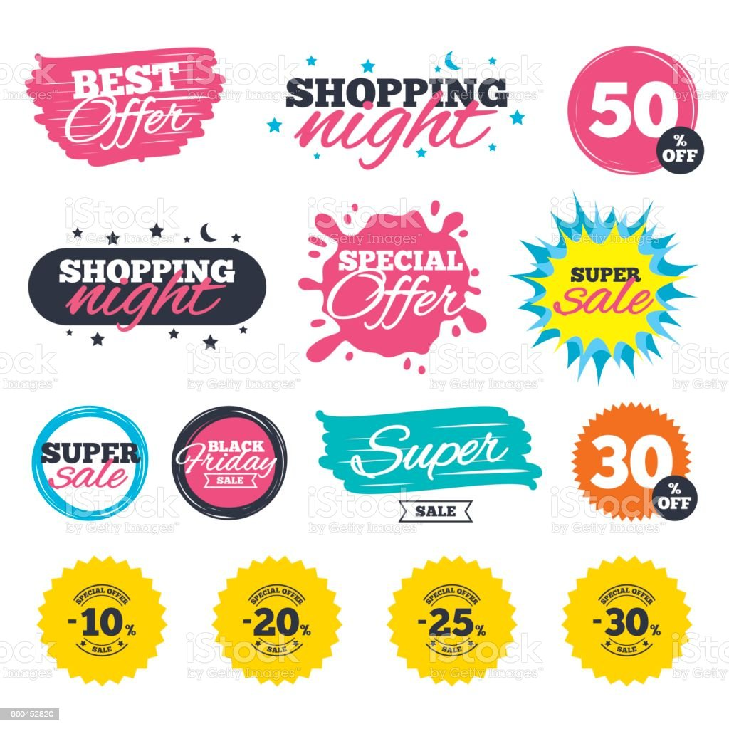 Sale discount icons. Special offer price signs. vector art illustration