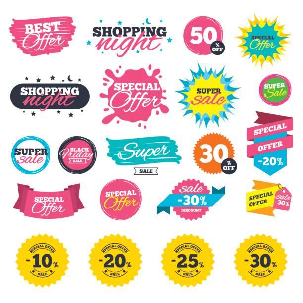 ilustrações, clipart, desenhos animados e ícones de venda de desconto ícones. oferta especial de preço as placas. - esparramar líquido