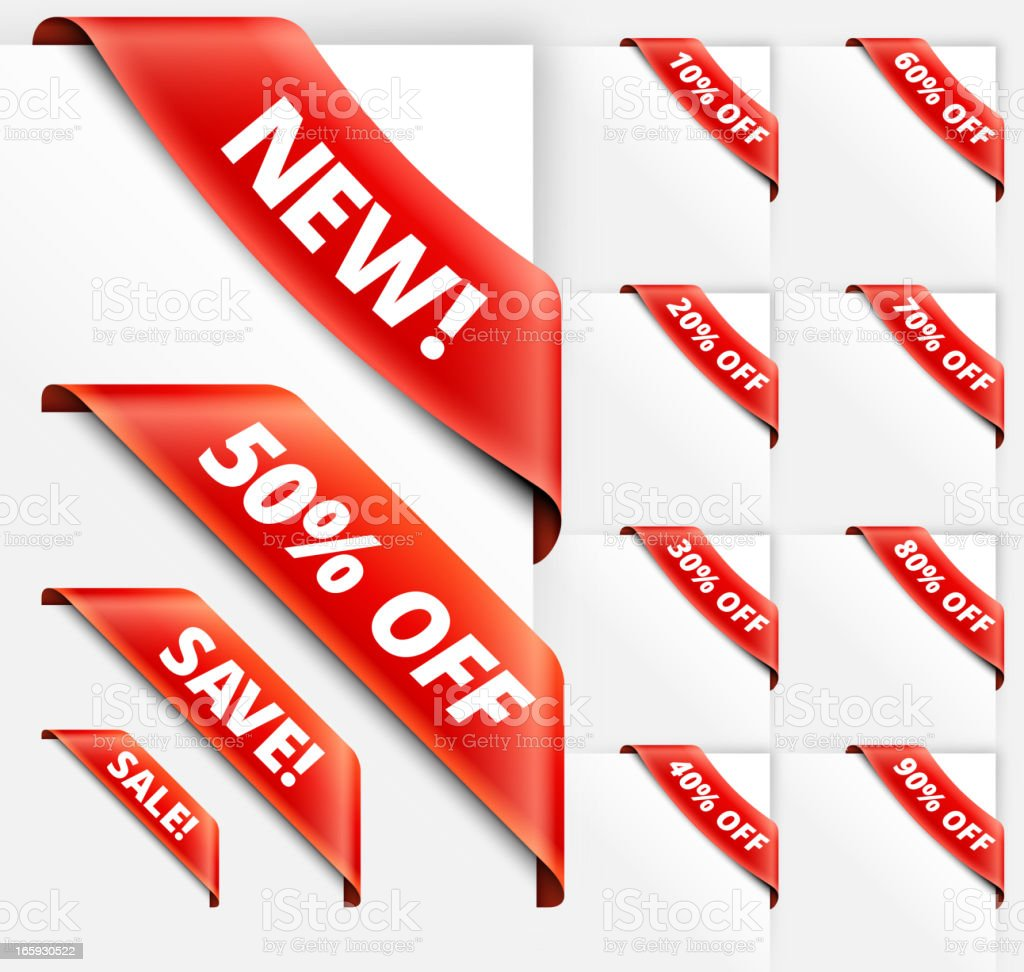 Sale Discount Sign red vector ribbons set royalty-free stock vector art