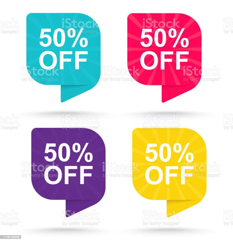 Продажа скидка наклейка 50%. Рекламные теги специальные предложения. - Векторная графика Бизнес роялти-фри