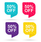 Sale discount sticker 50%. Promotional tags special offers.