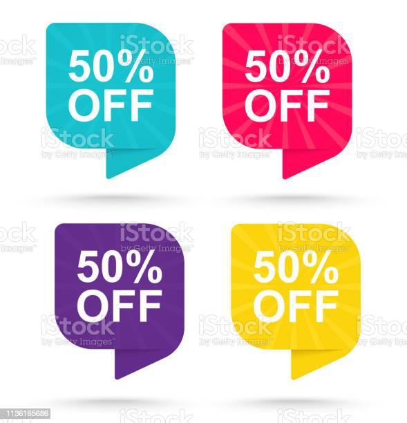 Продажа Скидка Наклейка 50 Рекламные Теги Специальные Предложения — стоковая векторная графика и другие изображения на тему Бизнес