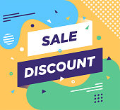 """Trendy abstract banner illustration with """"Sale Discount"""" typography. Vector illustration concept for web/mobile pages, social media banners for printed materials"""