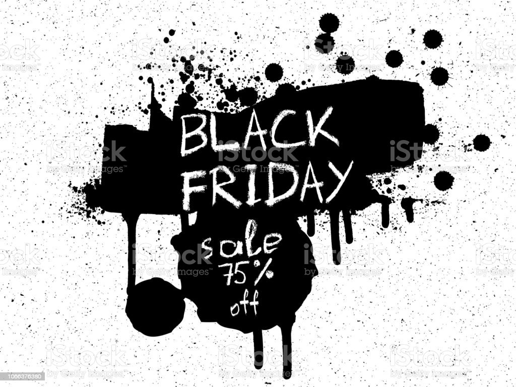 Sale Discounts For Holidays Season Banner Black Friday Black And White Shopping Bags Banners Or Print Made Of Paint And Ink Splashes And Stains On The Textured Noisy Background Vector Stock Illustration