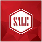 Sale discounts poster or flyer,  white text on red low