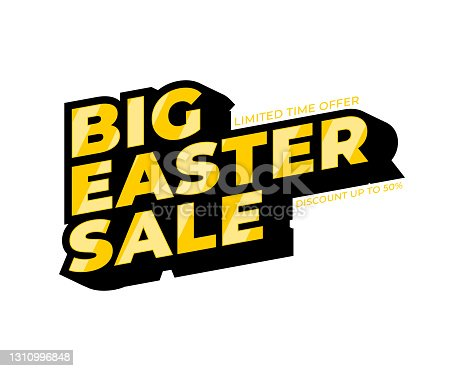 istock Sale Easter banner. Gold text. Super Sale Gold Text. Super Sale Background for your promotional brochure or booklet, posters, advertising shopping flyers, discount banners 50 off. 1310996848