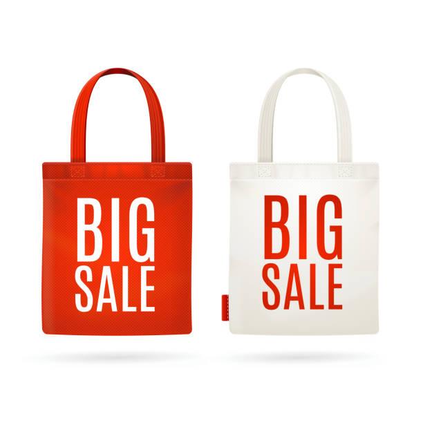verkauf öko-tasche einstellen. vektorgrafik - stoffmarkt stock-grafiken, -clipart, -cartoons und -symbole