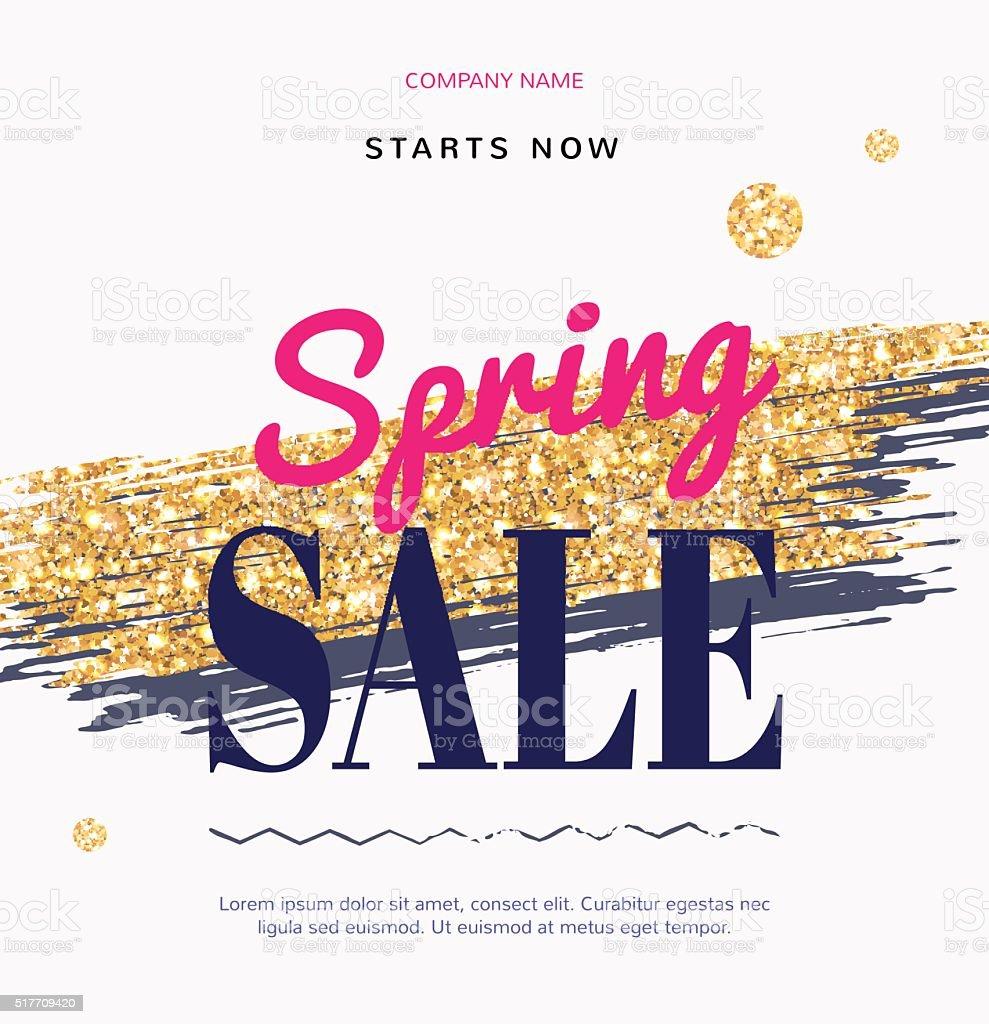 Sale-Mode moderne web-banner mit goldenen Pinsel. – Vektorgrafik