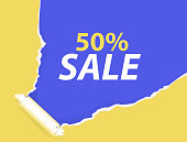 Sale fifty percent with torn paper. Shopping inscription in yellow and blue colors.