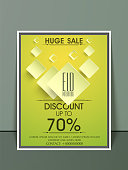Creative stylish sale flyer, banner or template with 70% discount offer for muslim community festival, Eid celebration.