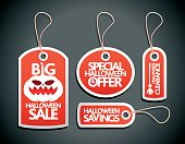 Halloween Sale concept design Tags Set red