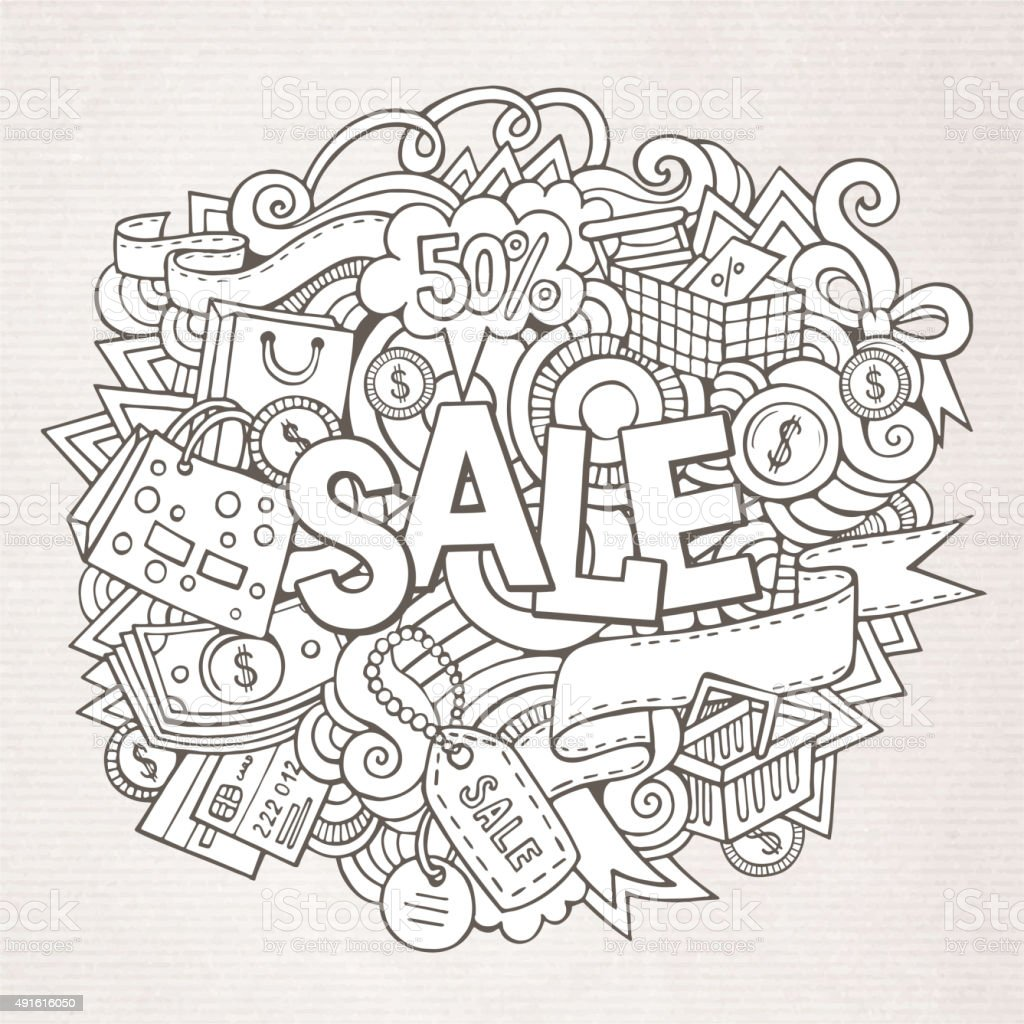 Sale Hand Lettering And Doodles Elements And Symbols Background