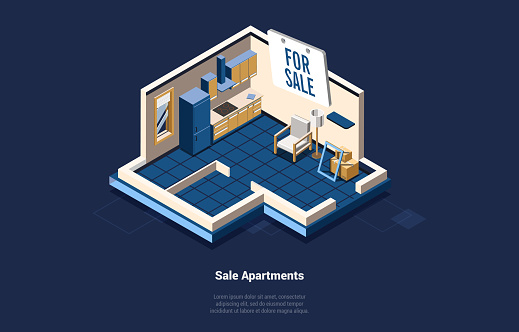 Sale House Or Apartments Concept Vector Illustration On Dark Background, Text. 3D Composition In Cartoon Style. Isometric Art Of Living Room And Kitchen Space. Real Estate Business, Moving Flat Ideas