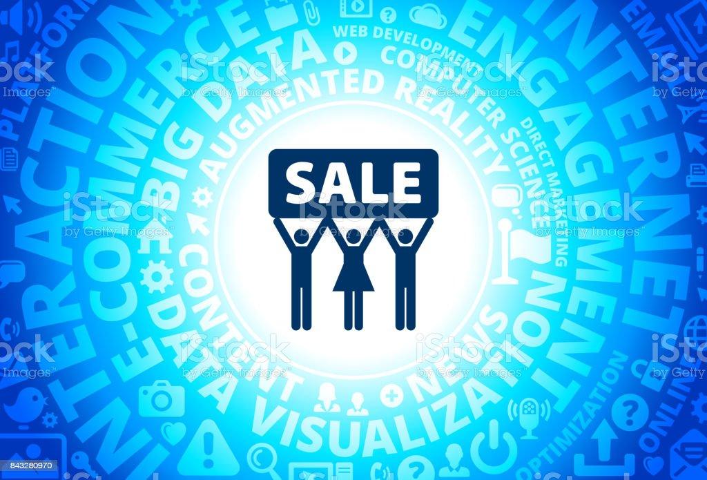 Sale Icon on Internet Modern Technology Words Background vector art illustration