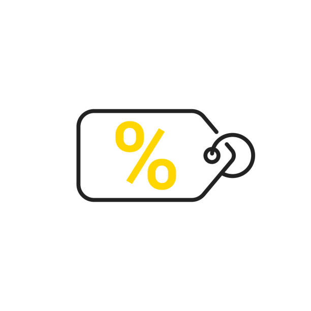 sale icon. price tag with a percent sign. vector - sprzedawać stock illustrations