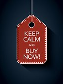 Sale icon price tag with keep calm and buy now