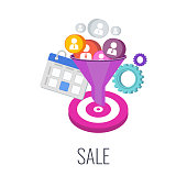 Sale Infographics Pictogram. Successful sales strategy. anagement and marketing. Successful business of company in market. Flat vector illustration.
