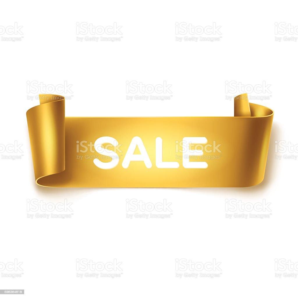 Sale inscription on gold detailed curved ribbon on white background. – Vektorgrafik