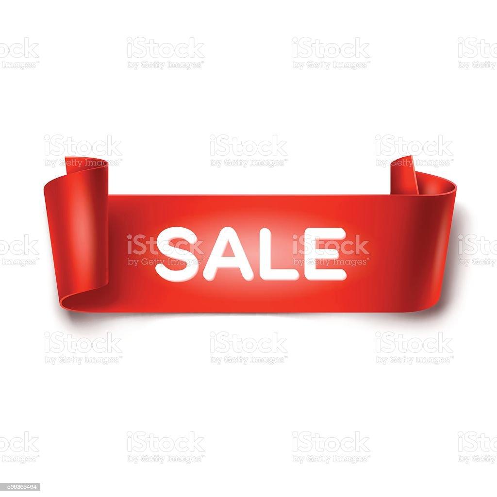 Sale inscription on red detailed curved ribbon on background. – Vektorgrafik