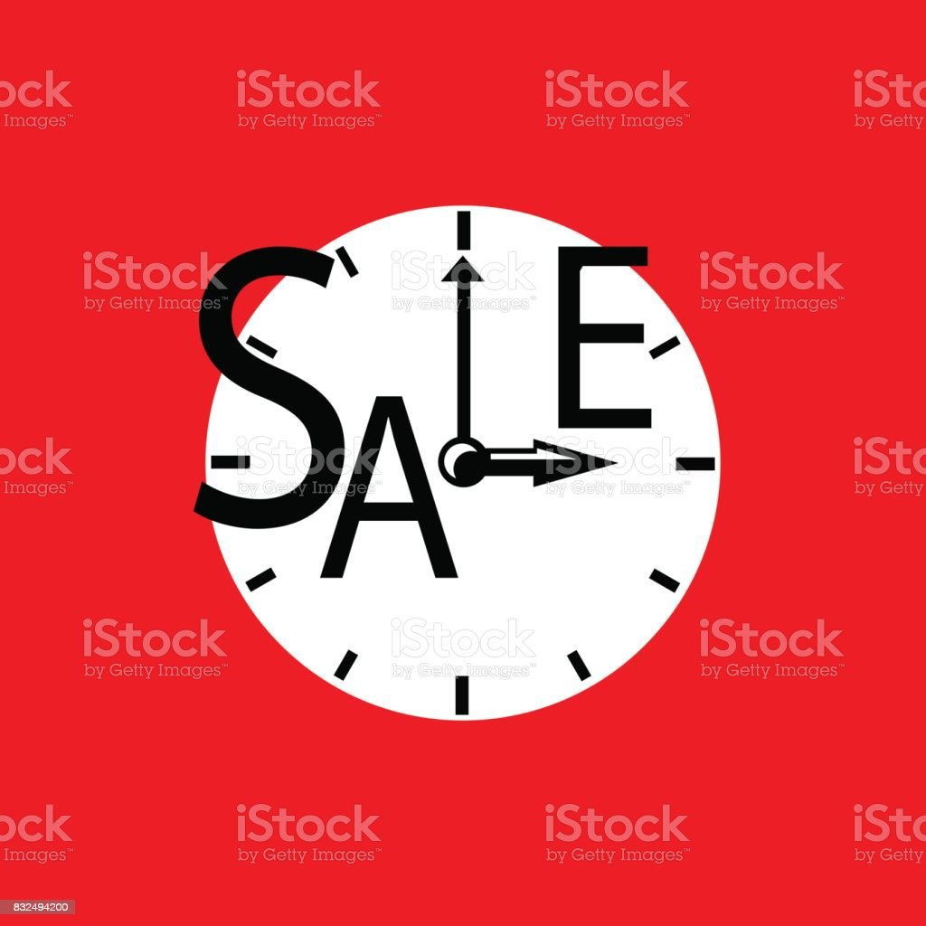 Sale inscription with clocks. Sales event square vector illustration....