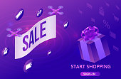 Sale isometric design, drone flying with poster, online offer concept for ecommerce discount campaign, cyber monday or black friday landing page template, 3d vector illustration with violet box