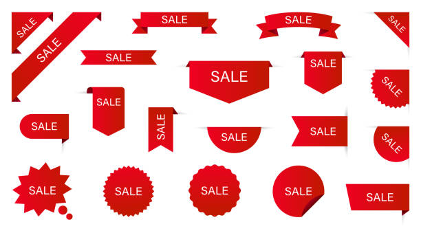 Sale Label collection set. Sale tags. Discount red ribbons, banners and icons. Shopping Tags. Sale icons. Red isolated on white background, vector illustration. Sale Label collection set. Sale tags. Discount red ribbons, banners and icons. Shopping Tags. Sale icons. Red isolated on white background, vector illustration ribbon sewing item stock illustrations