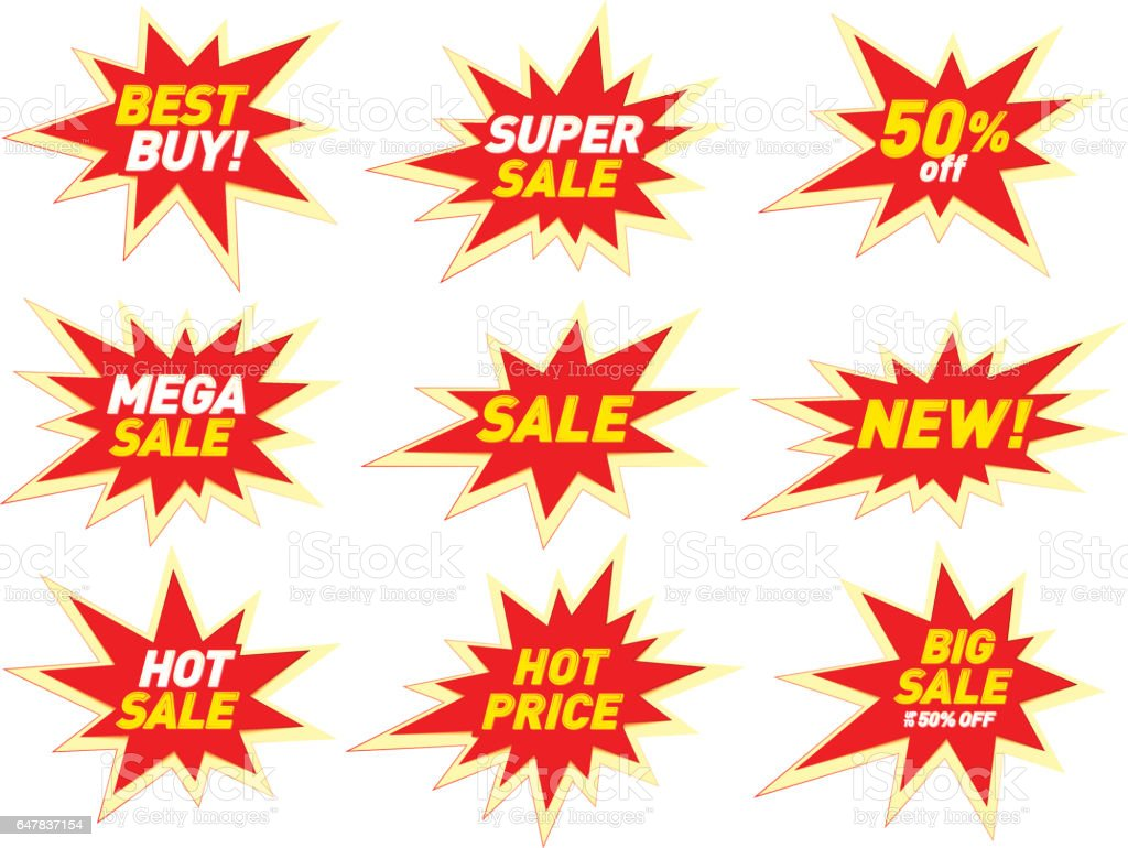 Sale Label Price Tag Banner Star Badge Template Sticker Design